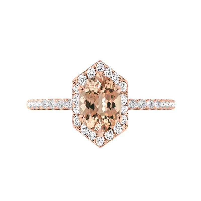 2 Carat Oval Morganite & Diamond Hexagon Halo Ring (Copy)