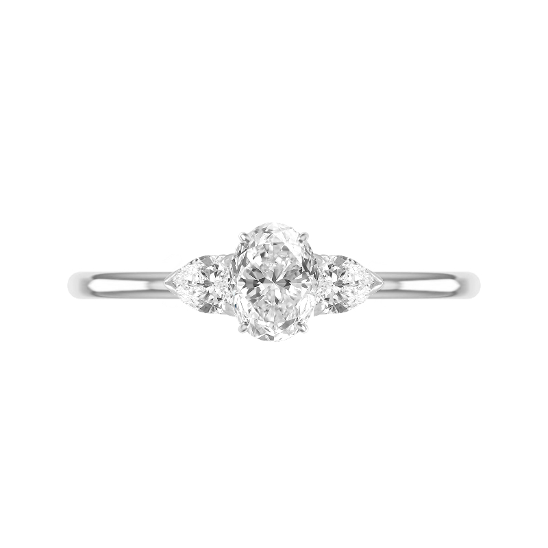 1.20 Carat Oval Diamond & Pear Three Stone Ring