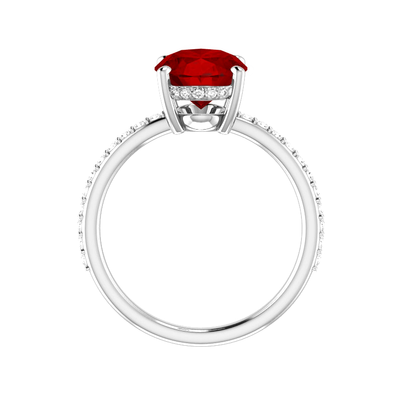 3 Carat Oval Red Spinel & Diamond Hidden Halo Ring