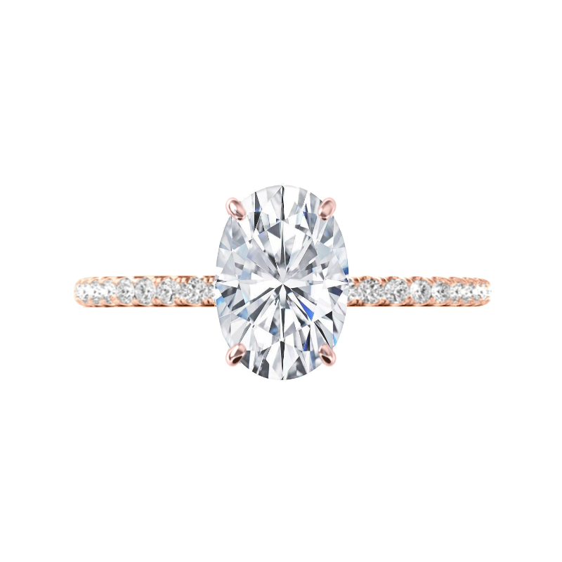 3 Carat Elongated Oval Moissanite & Diamond Rose Gold Ring