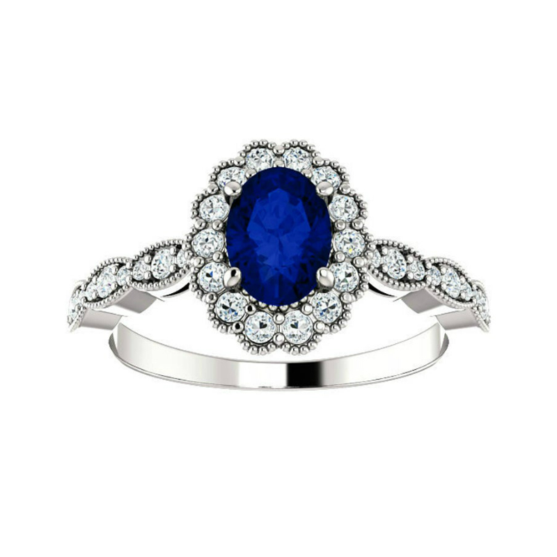 1 Carat Oval Sapphire & Diamond Scalloped Halo Ring