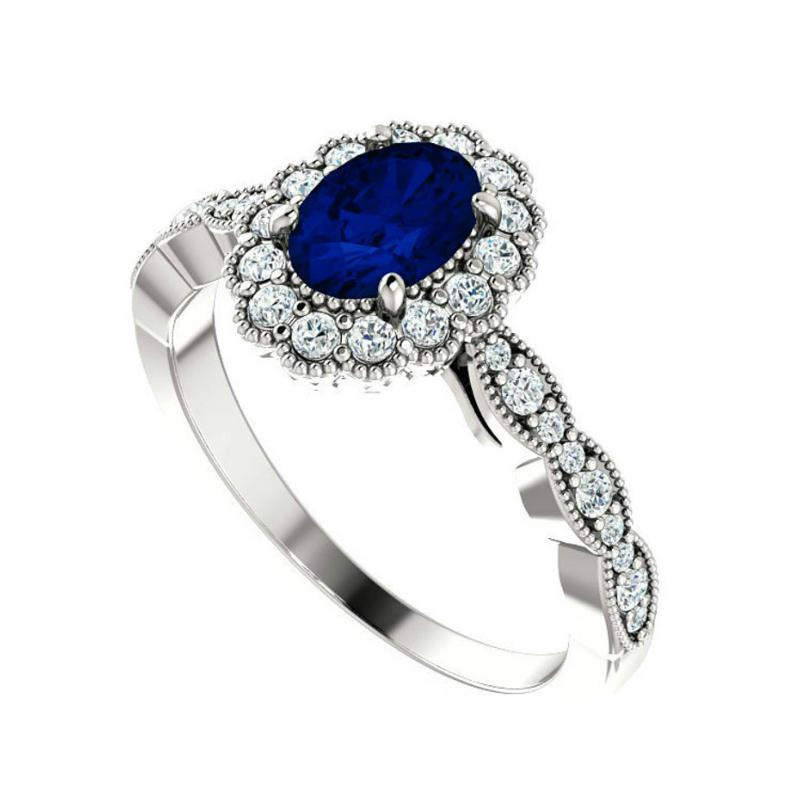 1 Carat Oval Sapphire & Diamond Scalloped Halo Ring