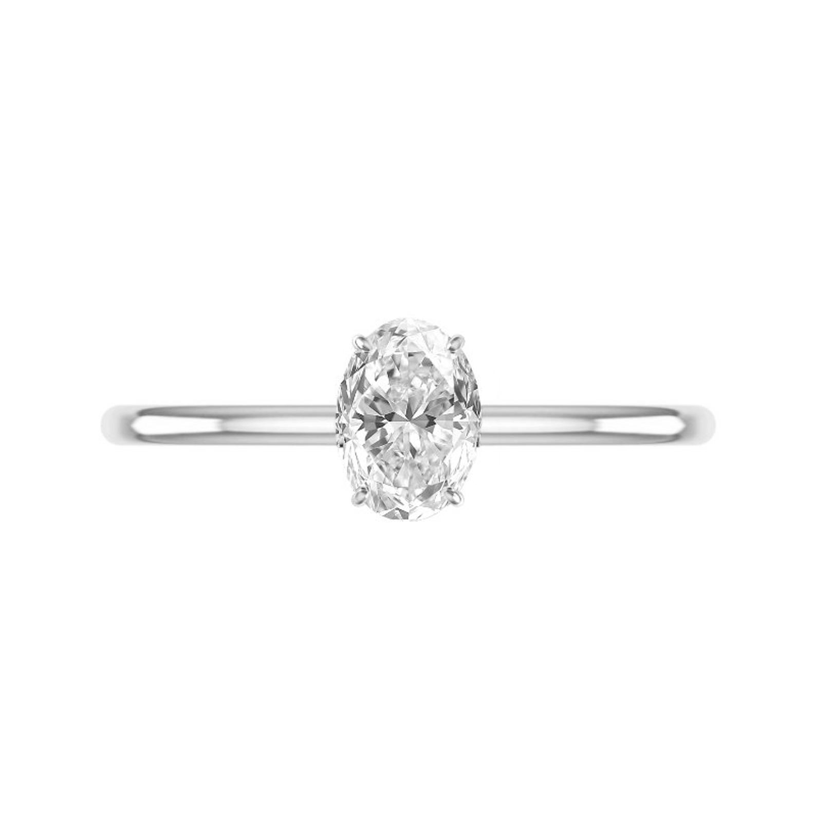1 Carat Oval Moissanite Solitaire Ring
