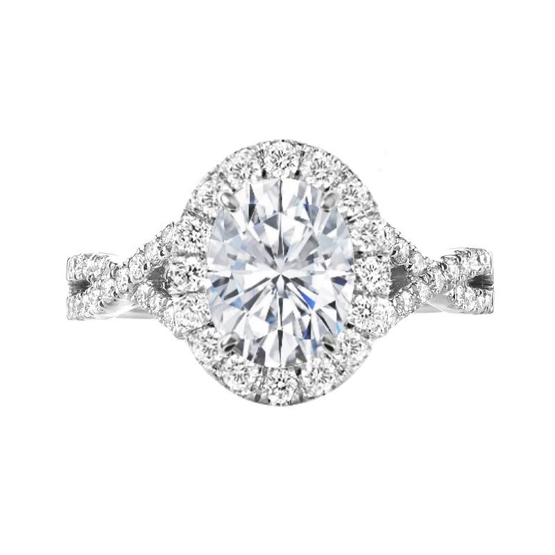 2.00 Carat Oval Diamond & Halo Twisted Shank Engagement Ring