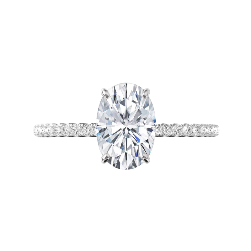 3 Carat Elongated Oval Moissanite & Diamond White Gold Ring