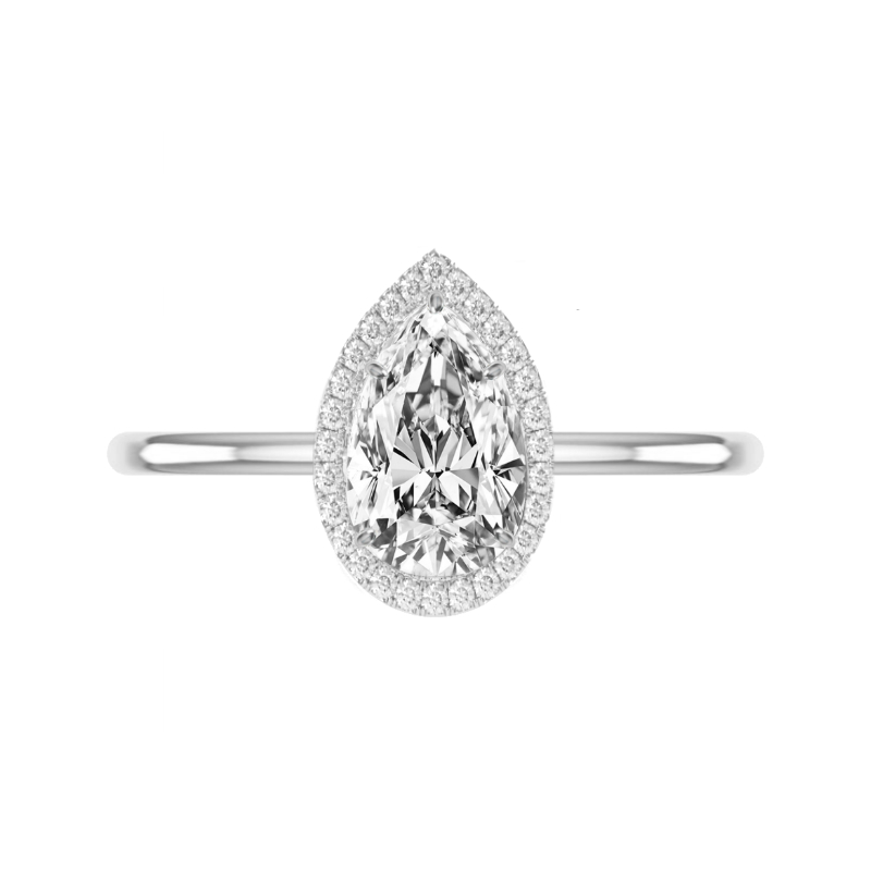 1.70 Carat Pear Diamond & Halo Solitaire Ring
