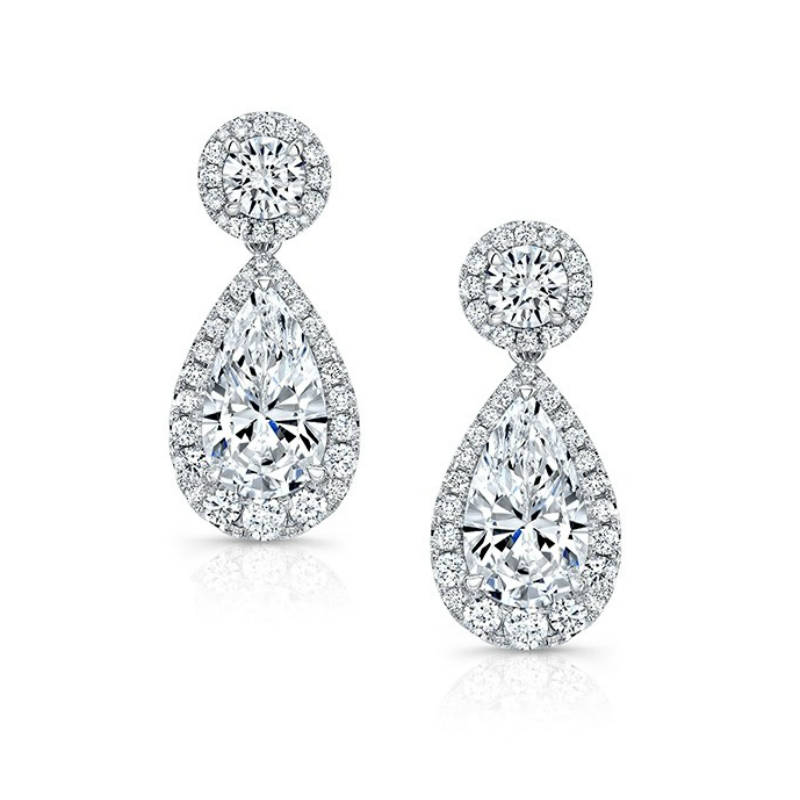 8.49 ctw Pear Diamond & Halo Dangle Earrings