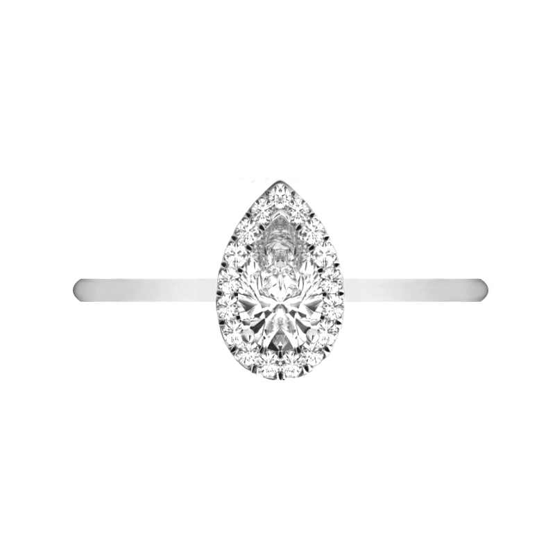 0.80 Carat Pear Diamond & Halo Solitaire Ring
