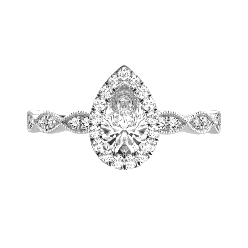 0.70 Carat Pear Diamond & Halo Vintage Inspired Ring