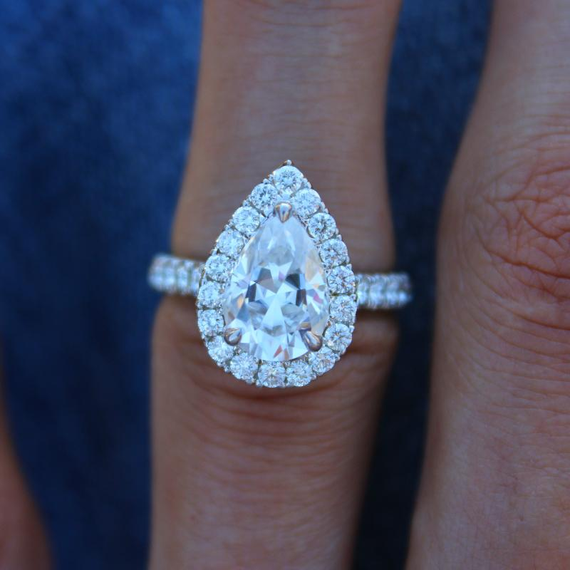2.10 Carat Pear Forever One Moissanite & Diamond Halo Ring