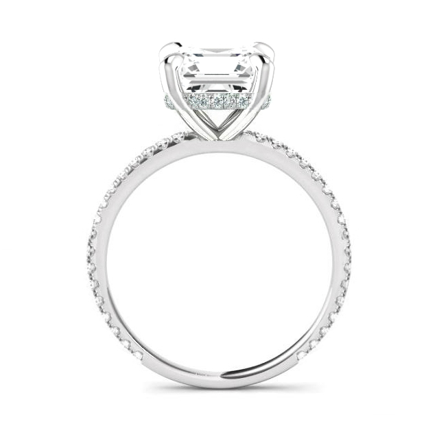 1.70 Carat Princess Lab Grown Diamond & Hidden Halo Ring