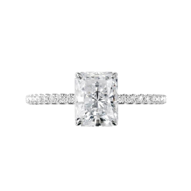 2.70 Carat Radiant Moissanite & Diamond Hidden Halo Pave Ring