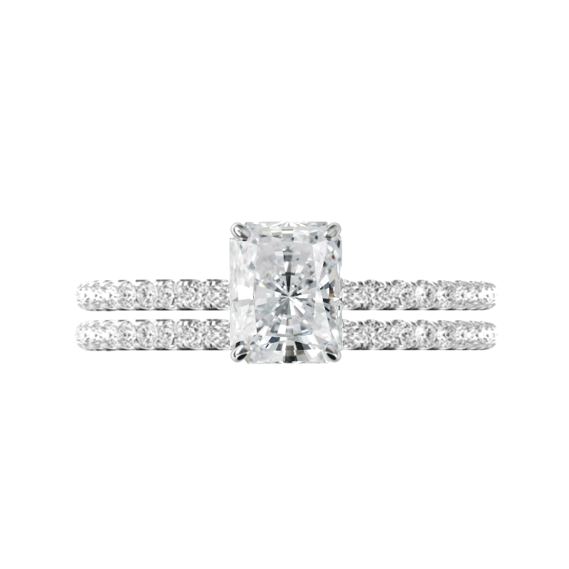 1.50 ct Radiant Crushed Ice Moissanite & Hidden Halo Ring Set