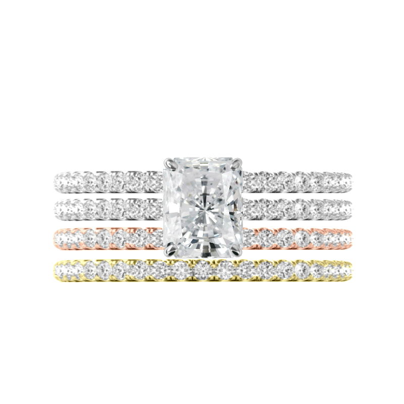 1.50 ct Radiant Moissanite & Hidden Halo Tri Color Band Set