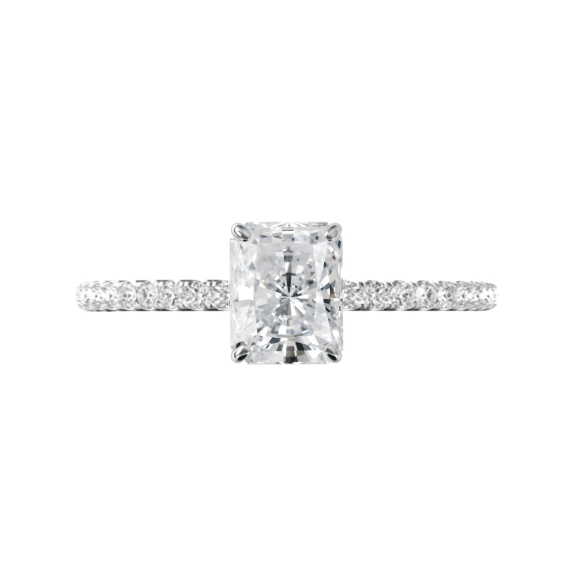 1.00 Carat Radiant Diamond & Hidden Halo Engagement Ring