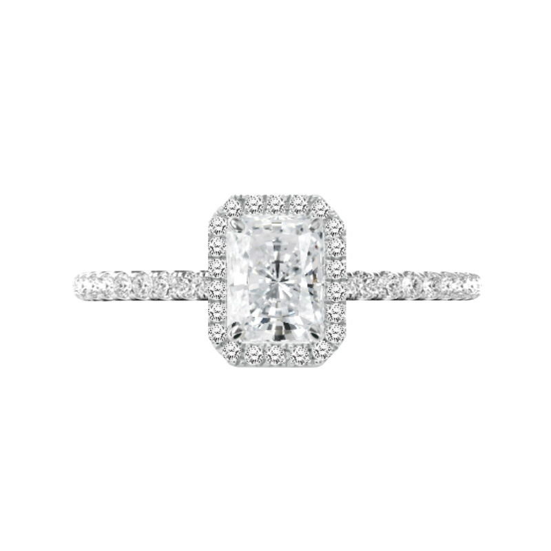 1.00 Carat Radiant Forever One Moissanite & Diamond Halo Engagement Ring