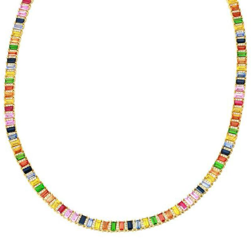 24 Carat Rainbow Sapphire & Diamond Necklace