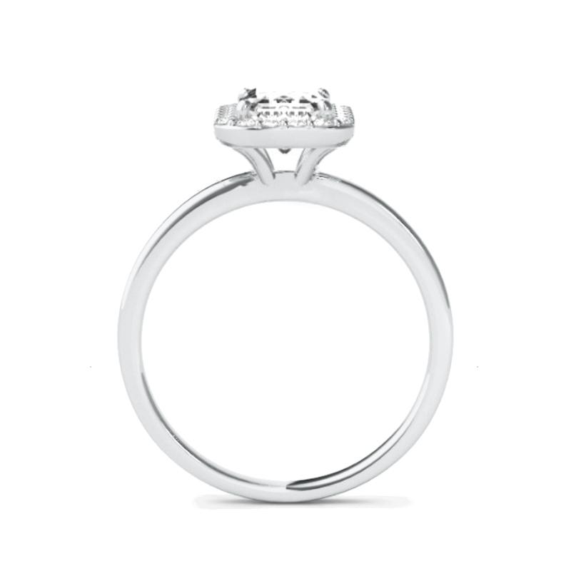 2 Carat Emerald Diamond & Halo Solitaire Ring