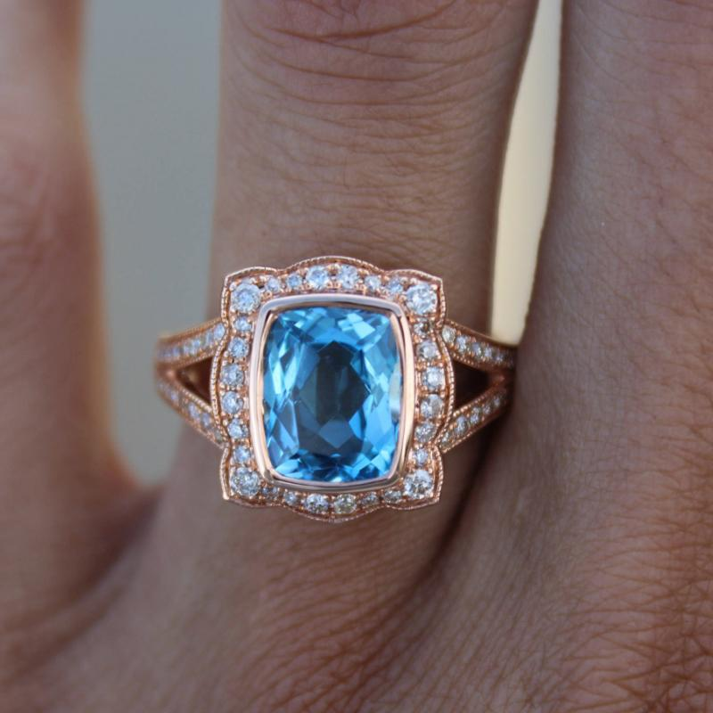Cushion Blue Topaz & Diamond Halo Split Shank Ring