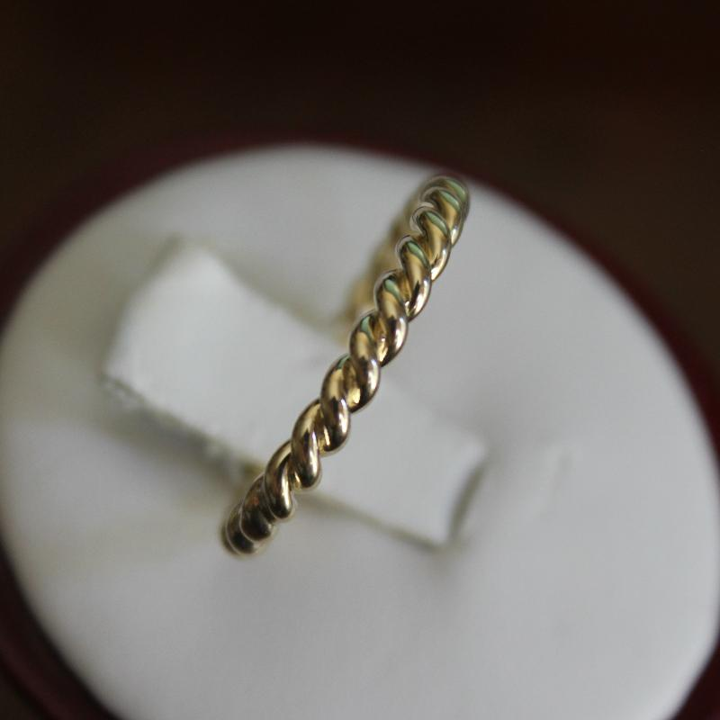 2.7mm Rope Twist Band Solid 14k Yellow Gold