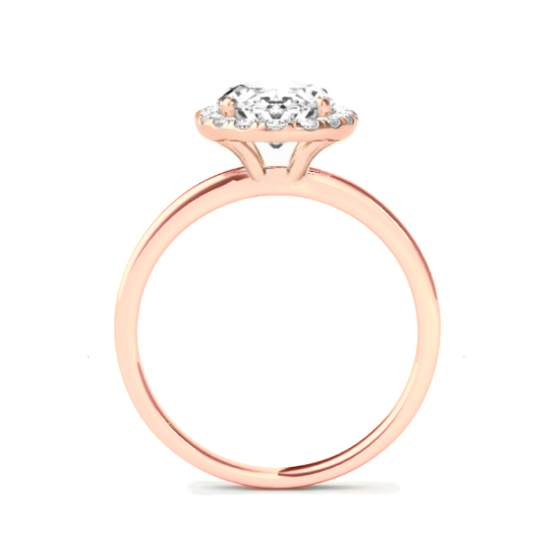 1 Carat Cushion Diamond & Halo Rose Gold Solitaire