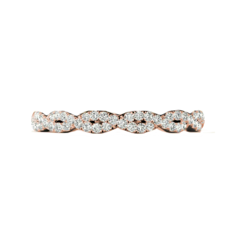 1.00 Carat Round Forever One Moissanite & Cushion Diamond Halo Ring with Rose Gold Diamond Infinity Eternity Band