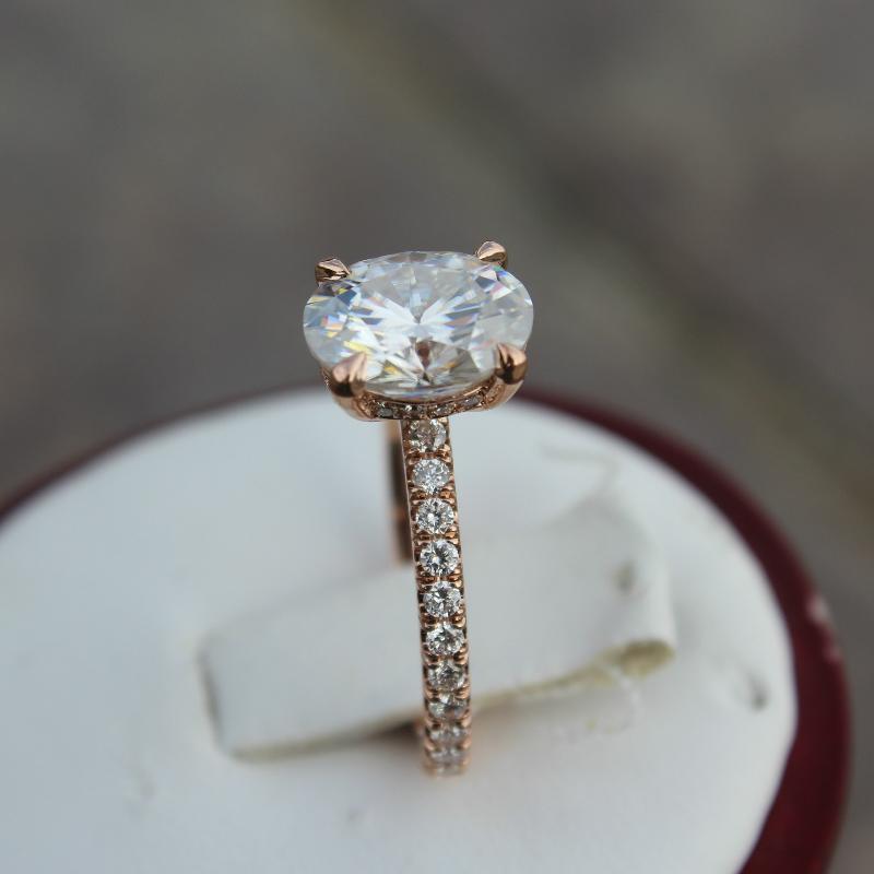 2 Carat Oval Moissanite & Diamond Hidden Halo Ring