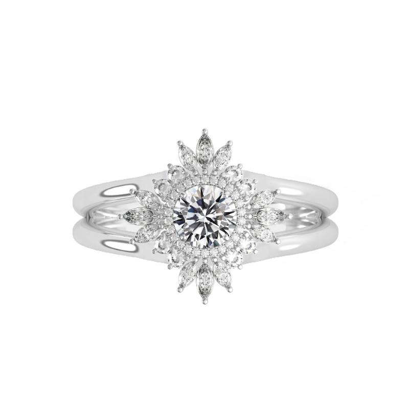 0.60 Carat Round Diamond & Art Deco Halo Split Band Ring