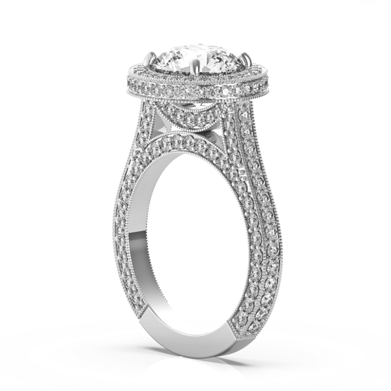 5 Carat Round Moissanite & Diamond Halo Three Row Bright Cut Pave Ring