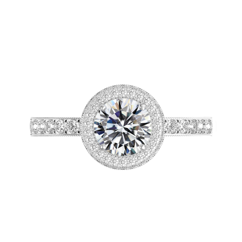 1 Carat Round Diamond & Double Edge Halo Three Sided Pave Ring