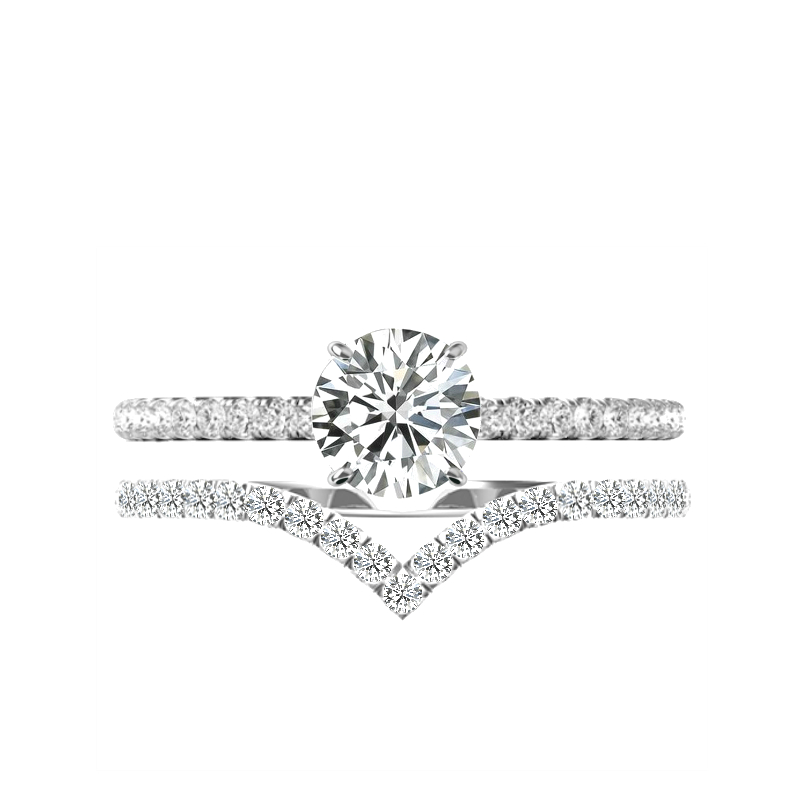 1.50 Carat Round Harro Moissanite, Diamond Hidden Halo Ring & V Shaped Diamond Band
