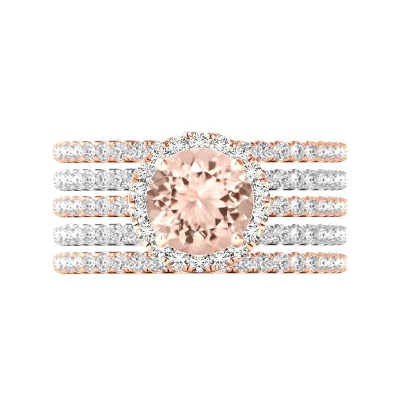 3 Carat Round Morganite & Diamond Halo Five Ring Set