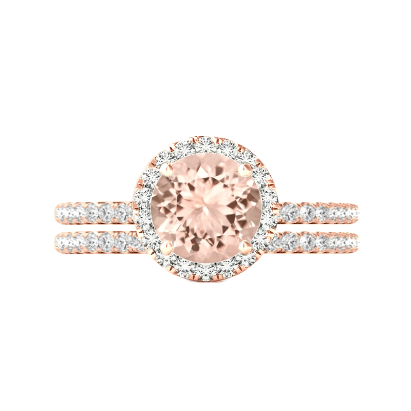 3 Carat Round Morganite & Diamond Halo Ring Set