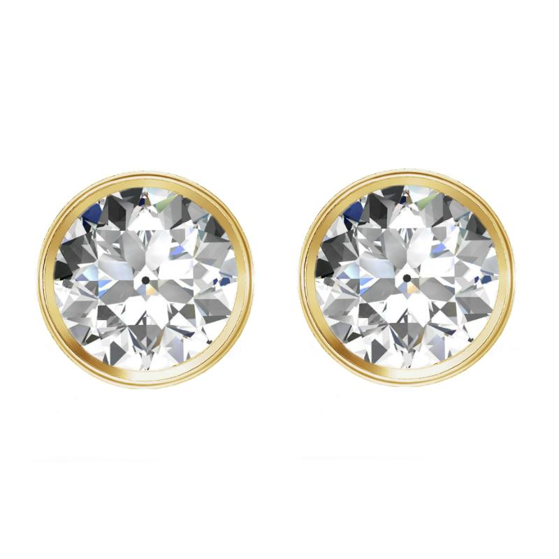 3.00 carats tw. Old European Cut Moissanite Bezel Stud Earrings 14k Yellow Gold