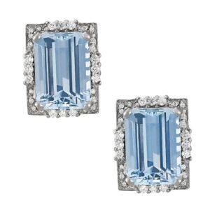 Emerald Cut Aquamarine & Diamond Red Carpet Earrings