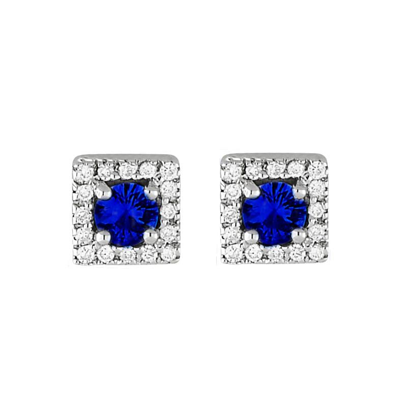3mm Blue Sapphire & Square Diamond Halo Studs