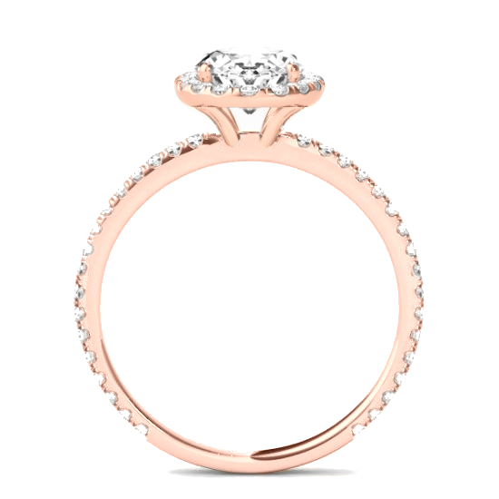 2 ct Cushion Diamond & Halo Engagement Ring Rose Gold