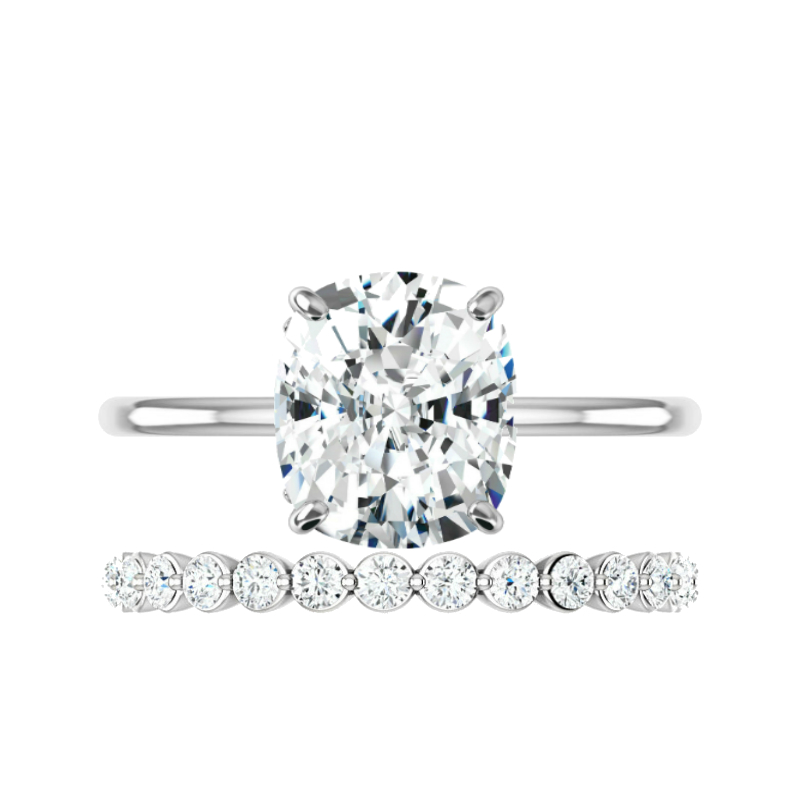 3 ct Elongated Cushion Moissanite Solitaire & Floating Diamond Band