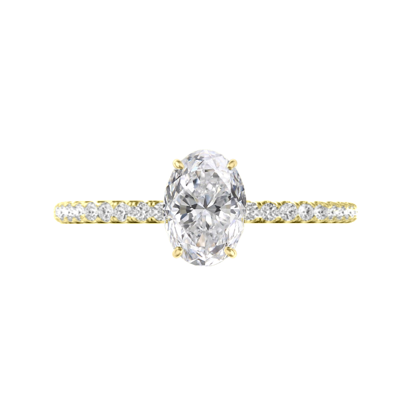 2 Carat Oval Moissanite & Diamond Hidden Halo Ring
