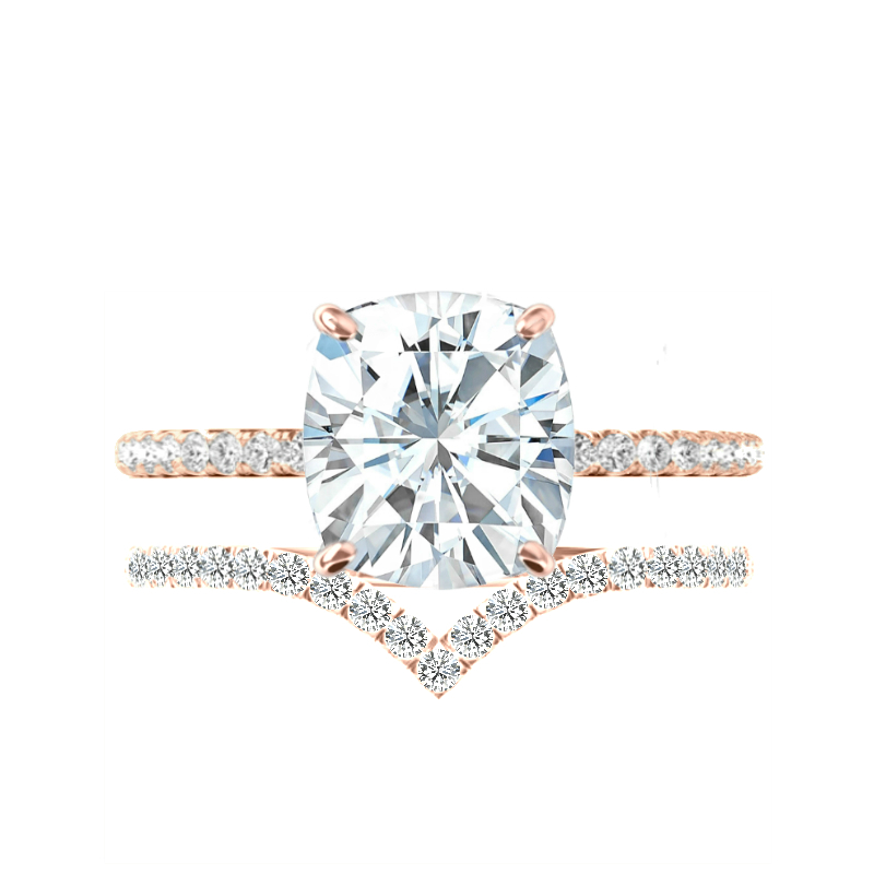 3.60 Carat Elongated Cushion Moissanite, Diamond Hidden Halo Ring & V Shaped Diamond Band