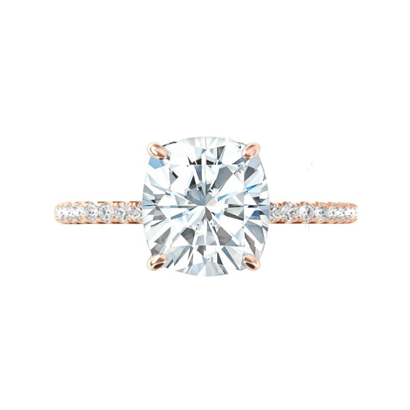 3.60 Carat Elongated Cushion Moissanite, Diamond Hidden Halo Ring & V Shaped Diamond Band