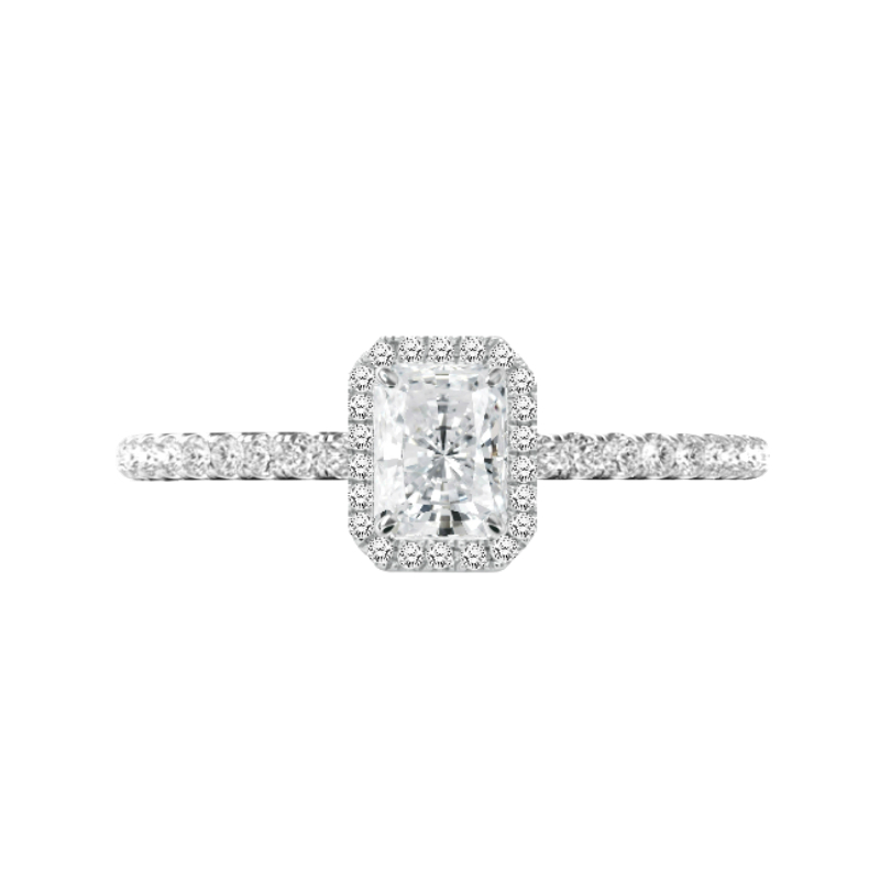 0.80 Carat Radiant Diamond & Halo Engagement Ring