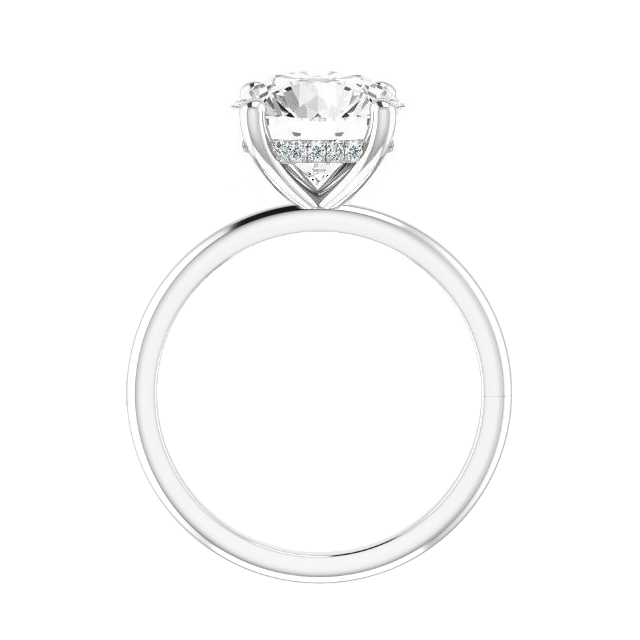 2.50 Carat Round Moissanite & Diamond Hidden Halo Solitaire