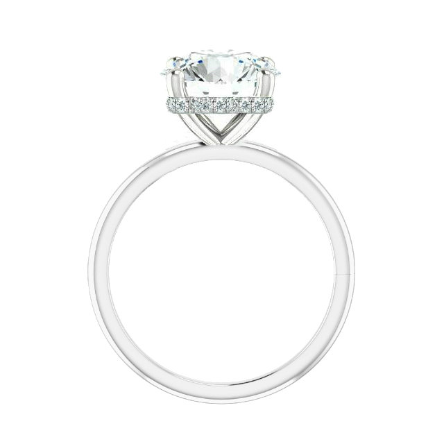 5 ct Round Moissanite & Diamond Hidden Halo Solitaire