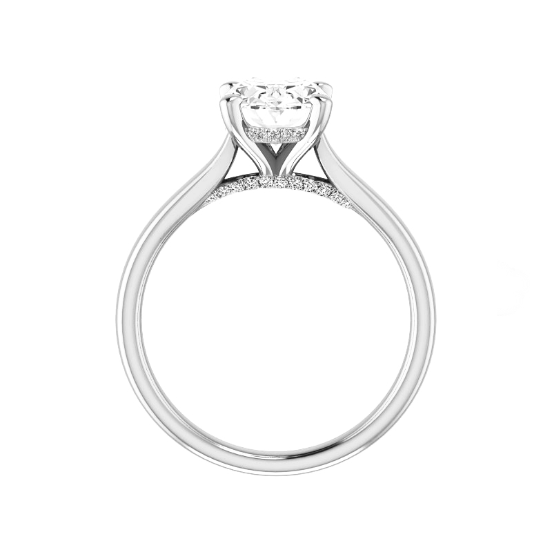 3 Carat Elongated Cushion Moissanite & Diamond Hidden Halo Solitaire Ring