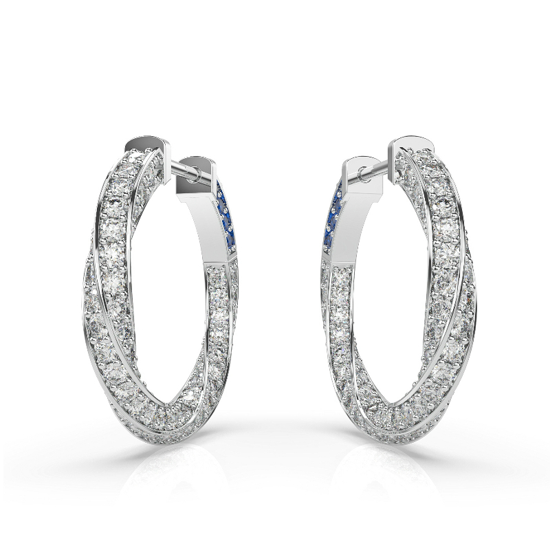 2 ctw Diamond Spiral Hoop Earrings (18mm)
