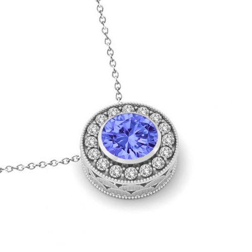 6.5mm Tanzanite & Diamond Halo Pendant Necklace