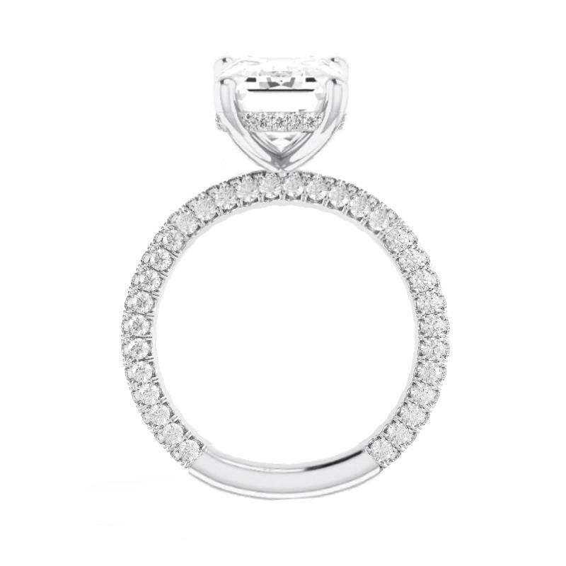1.50 Carat Round Lab Grown Diamond & Hidden Halo Three Row Pave Ring