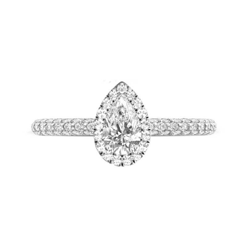 1 Carat Pear Diamond & Double Edge Halo Three Row Ring