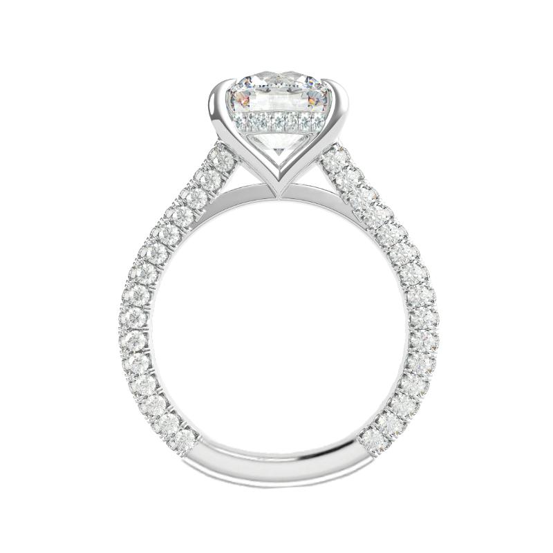 2 Carat Oval Moissanite & Diamond Hidden Halo Three Row Ring